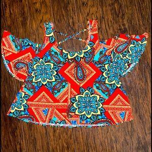 Ava & Grace Geo Colorful Print Cold Shoulder Top